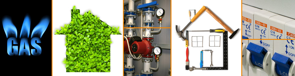 Gas, Electrical, Building and Renewable Heating Services Collage
